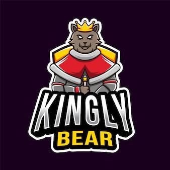 Kingly bear esportロゴのテンプレート