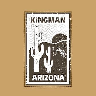 クラシックなヴィンテージデザインのキングマンアリゾナスタンプバッジイラスト