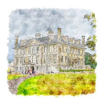 Kingston lacy castle italy watercolor sketch hand drawn illustration