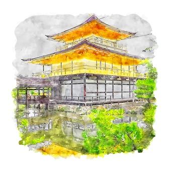 Храм кинкакудзи япония акварельный эскиз рисованной иллюстрации