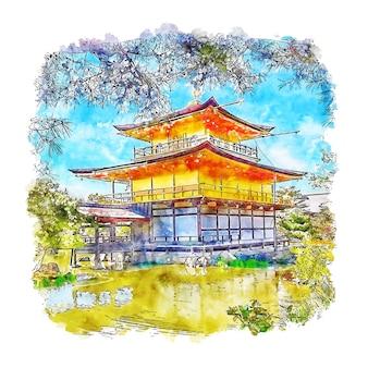 Храм кинкакудзи япония акварельный эскиз
