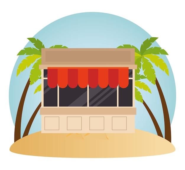 キッチン、ファサード、ビーチ、ベクトル、イラスト、デザイン