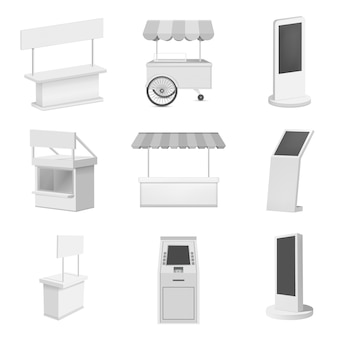 Kiosk stand booth mockup set. realistic illustration of 9 kiosk stand booth mockups for web