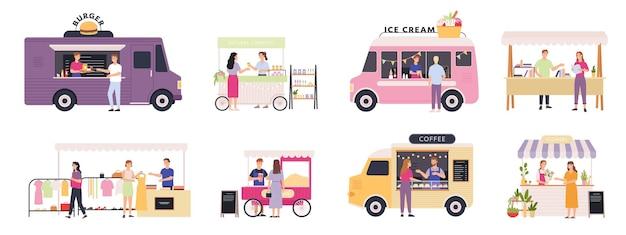 Продавец киосков. уличные палатки, тележки и грузовики продают фаст-фуд, книги, одежду и цветы. открытый рынок с набором векторных торговцев и клиентов. покупка натуральной косметики, мороженого и попкорна
