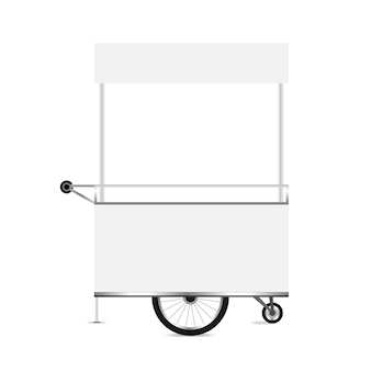 Kiosk white, template blank of kiosk wheels cart stock clip art