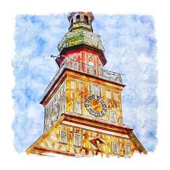 Kirchheimunter teck германия акварельный эскиз рисованной иллюстрации