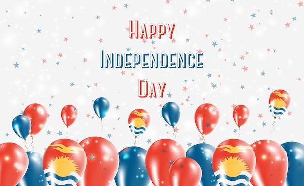 Патриотический дизайн дня независимости кирибати. воздушные шары в национальных цветах кирибати. поздравительная открытка вектора дня независимости сша.