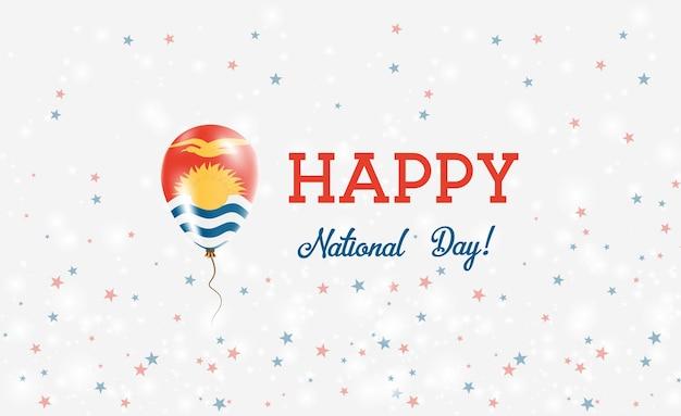 キリバス建国記念日愛国ポスター。 i-キリバスの国旗の色のフライングラバーバルーン。バルーン、紙吹雪、星、ボケ、輝きのキリバス建国記念日の背景。