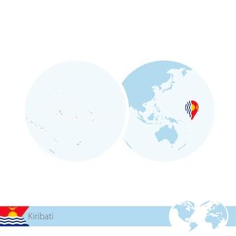 키리바시의 국기와 지역 지도가 있는 세계 세계의 키리바시. 벡터 일러스트 레이 션.