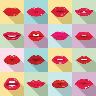 Kiss icons set, flat style