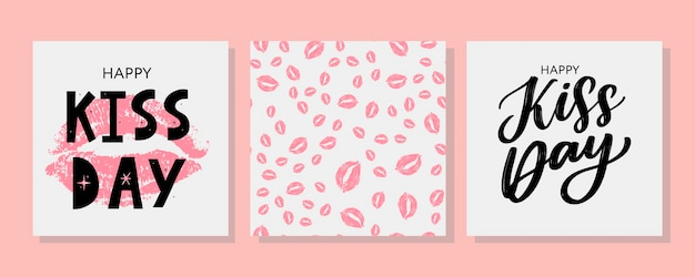 Поцелуй меня поздравительную открытку с розовыми рисованными акварельными губами