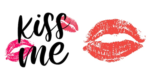 Kiss me hand lettering scalable and editable  illustration slogan