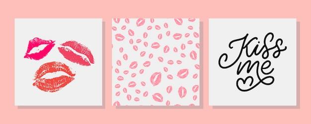 Поцелуй меня набор надписи карты и поцелуй помада бесшовные модели набор