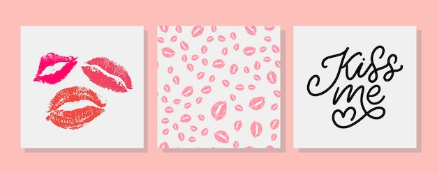 Kiss me set  lettering card and kiss lipstick seamless pattern set