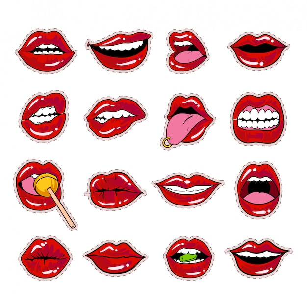 Kiss mouth lips sticker collection design