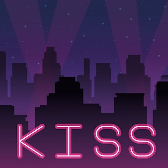 Kiss neon advertising