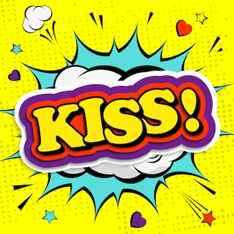 Kiss word in pop art or comic style