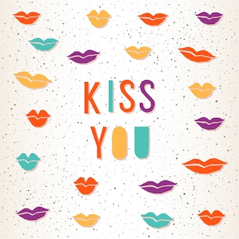 キスして。デザインウェディングカード、ブライダル招待状、tシャツ、ロマンチックな本、バレンタインデーのバナー、ポスター、スクラップブック、バッグ、アルバムなどの手作りの手紙と抽象的な唇。