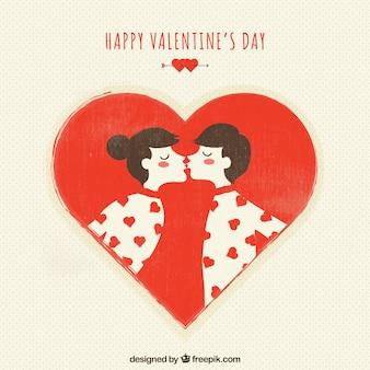 Baciare biglietto di auguri coppia