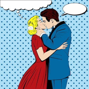 팝 아트 만화 스타일의 키스 커플.