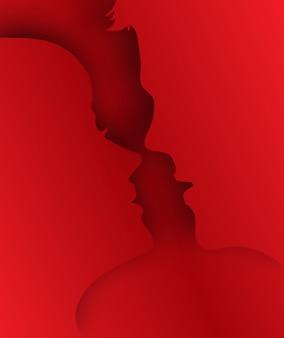 キスカップルペーパーアート3 dレイヤーがテキスト用のスペースと背景からポップアップします。