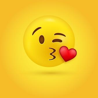 キスを吹くしわくちゃの唇で目をまばたきする絵文字の顔にキス
