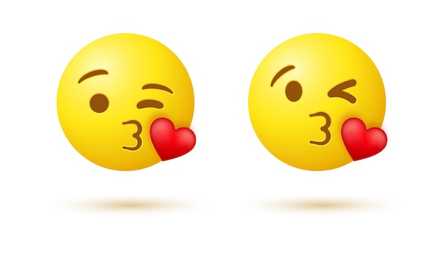 Kissing emoji face with winking eye and red heart or 3d emoticon blowing kiss