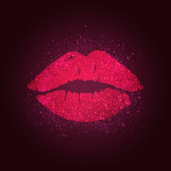 Kissing lips badge
