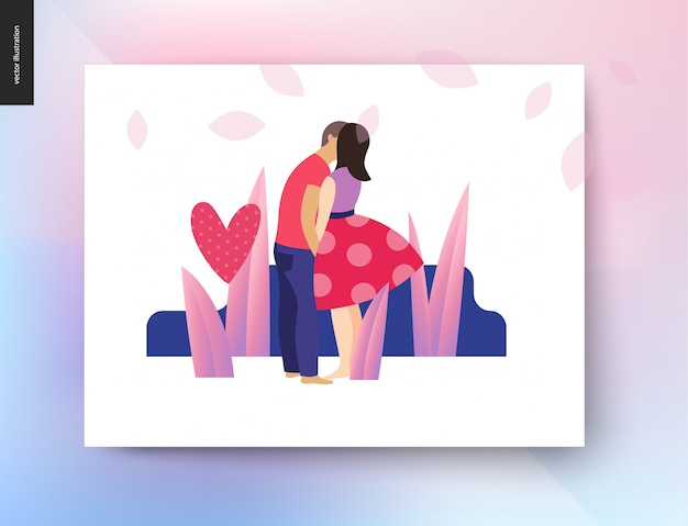 Kissing scene - flat cartoon vector illustration of young couple, boyfriend and girlfriend, kissing, romantic scene