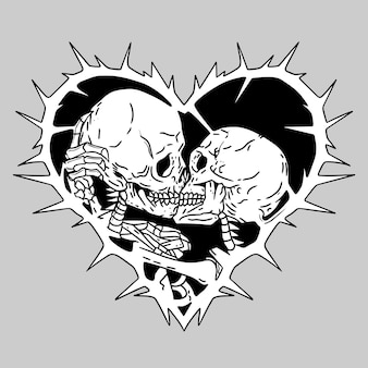 Kissing skull hand drawing illustration template