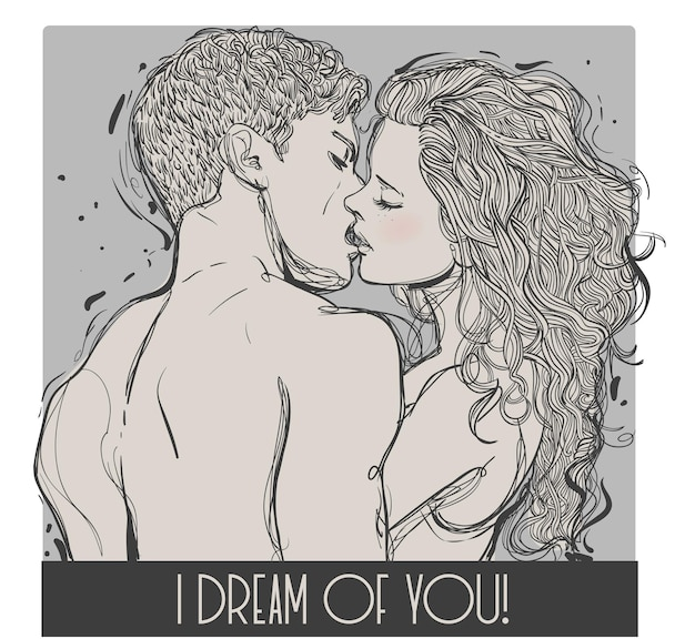 Целующаяся молодая влюбленная пара. векторная иллюстрация