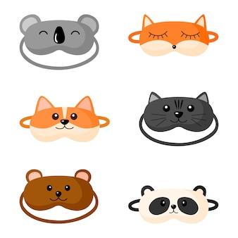 Kit children s sleep mask with different design on white background. set face mask for sleeping human with corgi, cat, panda, fox,bear, koala