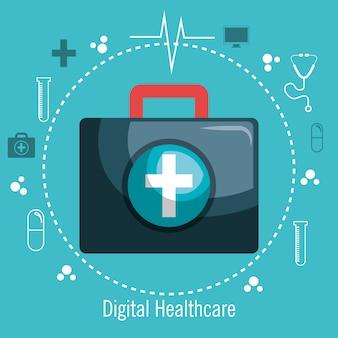 キットの応急処置デジタル医療デザインのアイコンの薬