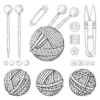 白で隔離される編み物のキット