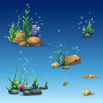 조개, 해초, 불가사리, 돌이있는 수중 세계의 키트