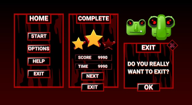 Kit set of game ui horror zombie interface board pop up menu for gui asset elements
