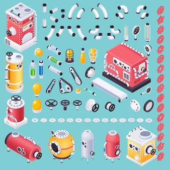 Kit of steampunk machine parts or pieces for ideas generator
