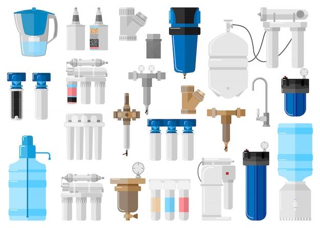 フラットスタイルの白い背景の上のキット水フィルター。特別な最新技術の水浄化プロセスの設定機器