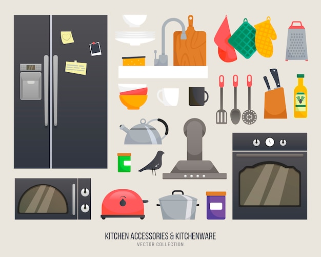 주방 액세서리. 주방 용품 컬렉션. 주방 용품 및기구 세트입니다. 주방 인테리어 개체 격리 된 아이콘입니다. 쉬운 자체 제작 디자인을위한 주방 용품.