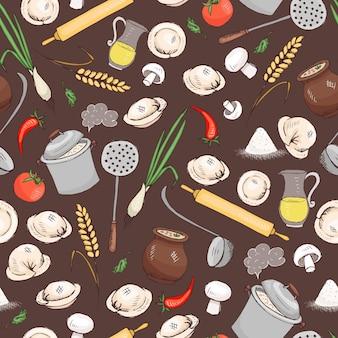 メニューと別のレストランのデザインのためのキッチンと食品のシームレスなベクトルパターン。