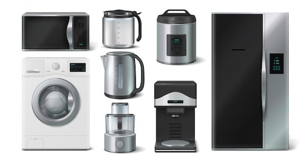주방용품. 가정용 전자레인지, 주전자 전자레인지 토스터기. 현실적인 3d 모형 가전 제품의 벡터 컬렉션 그림