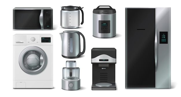 Kitchen appliance. domestic electronic house hold devices, kettle microwave toaster blender. vector collection illustration of realistic 3d mockups home appliances