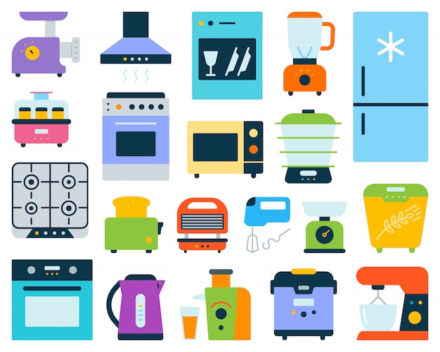 Kitchen appliance, electronics equipment flat set.