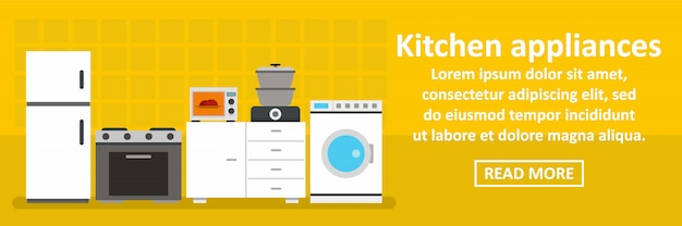 Kitchen appliances banner horizontal concept