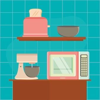 Kitchen appliances electronic devices scene