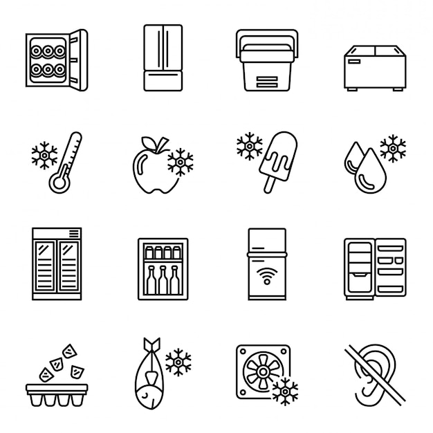 Kitchen appliances, equipment, freeze refrigerator icon set. line style stock