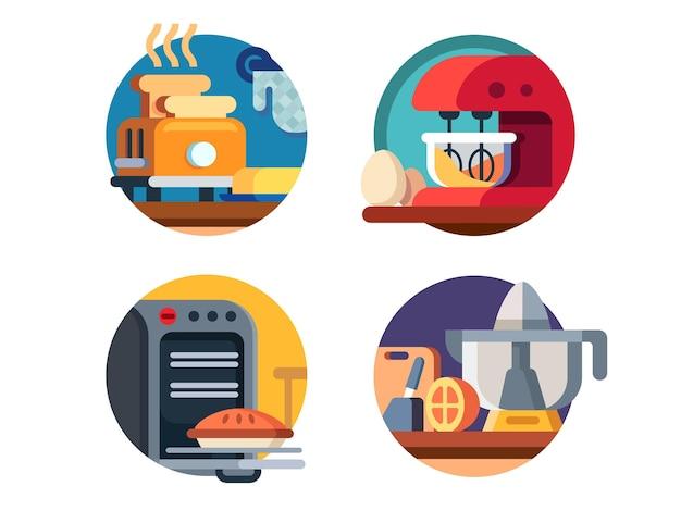 キッチン家電のアイコン。電子レンジとブレンダー、トースターとジューサー。図