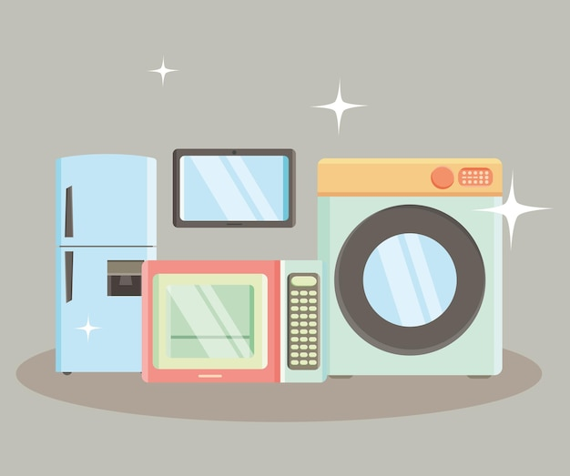 Kitchen appliances illustration with icons