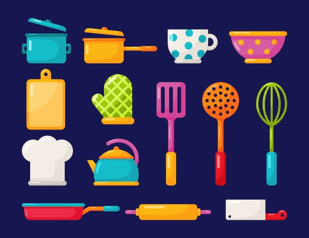 Kitchen appliances and kitchenware icons set isolated on blue background.