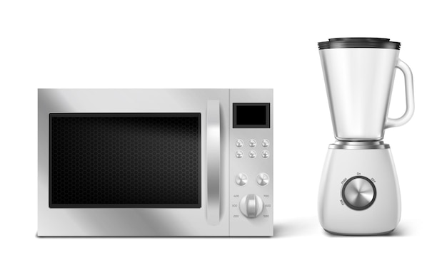 Kitchen appliances microwave and blender household technics